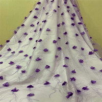 New Arrival Purple High Quality Net Lace Fabric 2018 Embroidery French Lace 3d Flower Fabric Feather African Lace Fabric X1454