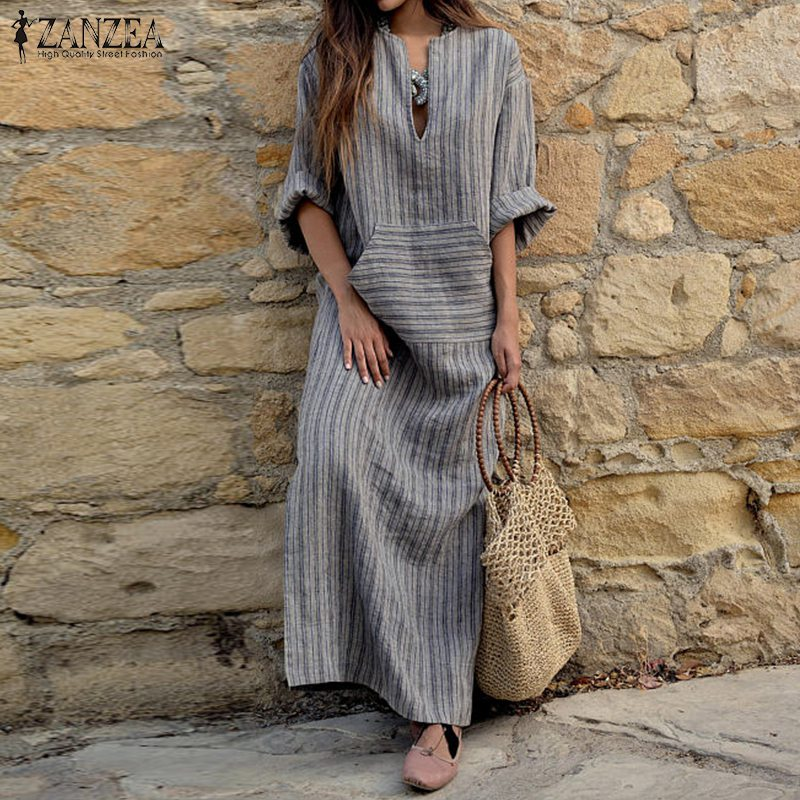 ZANZEA Women <font><b>Dress</b></font> 2020 Autumn Vintage Striped Casual Loose Maxi Long <font><b>Dresses</b></font> <font><b>Sexy</b></font> <font><b>V</b></font> <font><b>Neck</b></font> Long Sleeve Vestidos Plus Size Robe image