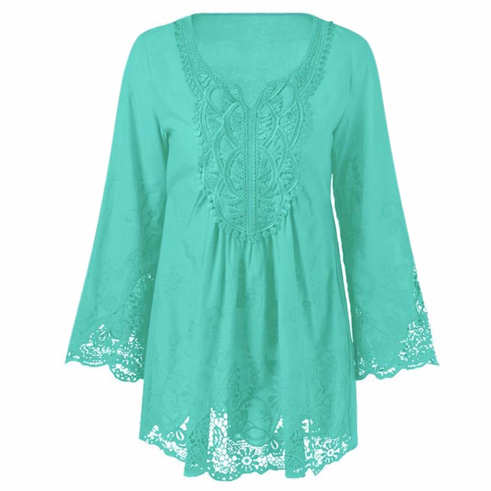 HTB1.9UWOXXXXXbZXFXXq6xXFXXX2 - Gamiss Plus Size 5XL Female Blusa Retro Spring Autumn Lace Floral