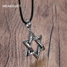 Meaeguet Vintage Magen Star of David Cross Pendant Necklace Stainless Steel Women Men Rope Chain Israel Jewish Jewelry(China)