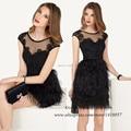 Vestido Plumas Latest Designs Black Lace Feather Dress to Party Short Prom Dresses 2015 Robe de Cocktail Scoop Cap Sleeve