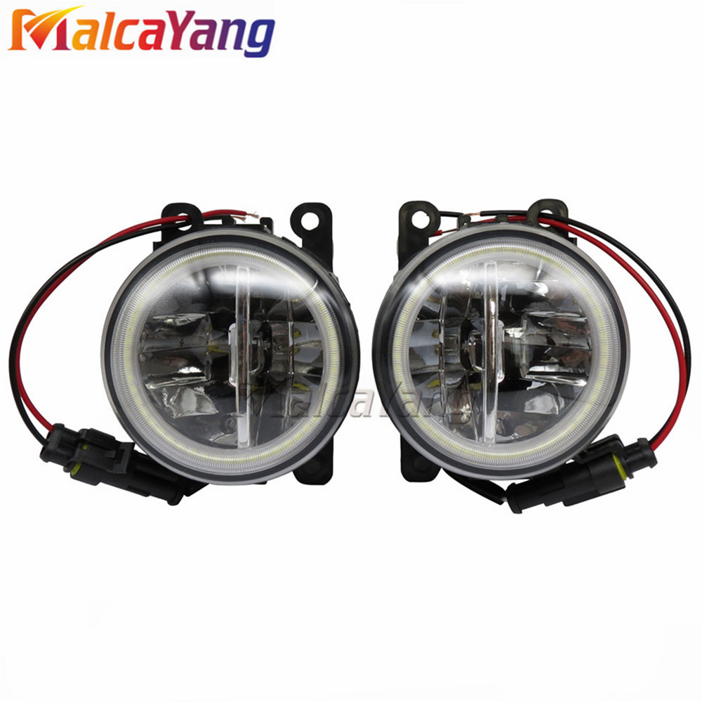 2PCS Car Styling For Mitsubishi Outlander Sport 2013-2015 Fog Light Halogen Lamp 12V LED car Lights Angel Eyes . for mitsubishi l200 outlander 2 pajero 4 grandis 2003 2015 car styling angel eyes drl led fog lights 9cm spotlight ocb lens