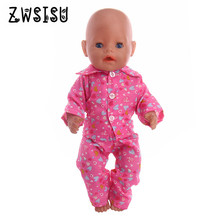 The 2018 new pink pajamas for 18 inches American doll and 43 cm  baby doll are the best gift for children's birthday n1246
