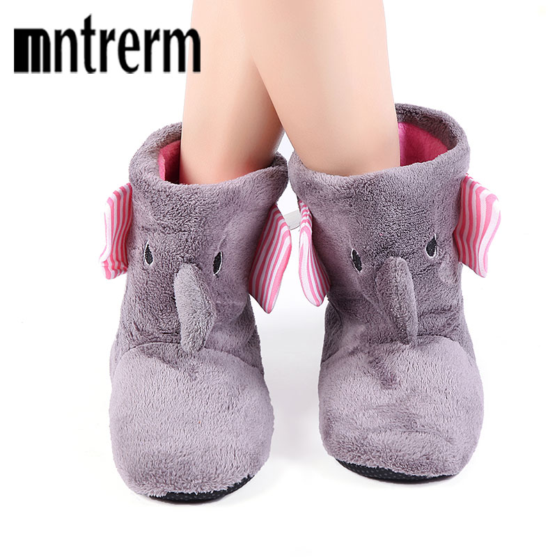 Mntrerm 2017 Winter Warm Indoor Slippers Cute Elephant Cartoon Animals Slippers For Women Flannel Home Slippers Send family gift mntrerm 2017 winter warm indoor slippers cute elephant cartoon animals slippers for women flannel home slippers send family gift