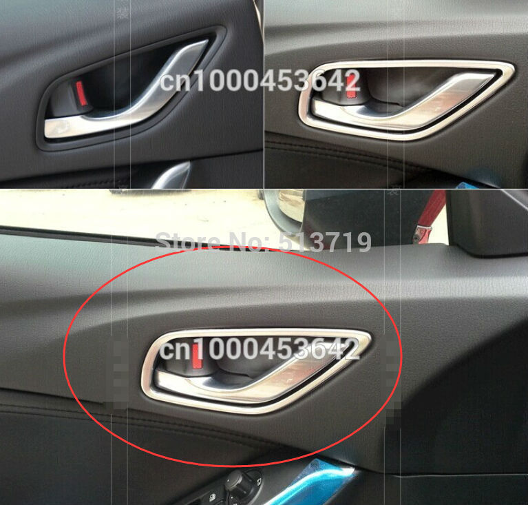 Inside Car Door Handle Trim Strips Frame Knob Interior Mouldings Fit For Mazda 3 Axela 2014 Chrome Per Set With Ideas