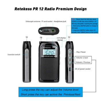 Retekess PR12 Mini Pocket Radio FM AM Digital Tuning Radio Receiver 9K 10K  MP3 Music