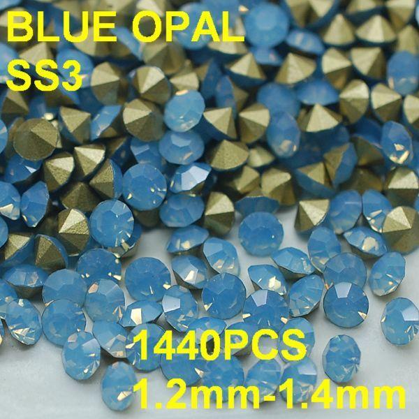 SS3 1440 pçs/lote 1.2mm-1.4mm Luz Azul Opala Cristal Strass Nail Art Strass 3D Golden Point Voltar