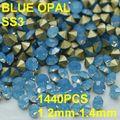 SS3 1440pcs/lot 1.2mm-1.4mm Light Blue Crystal Opal Rhinestone Nail Art 3D Rhinestones Golden Point Back
