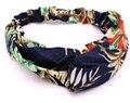 Vintage bohemian azul vermelho misturado tecido étnico elastic turban headband acessórios para o cabelo flor chiffon cruz