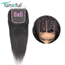 5x5 Lace Closure Straight Tuneful 100% Brazilian Remy Human Hair Pre Plucked DHL/FedEx express 3-5 days free shipping(China)