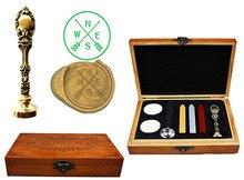 Custom Vintage Luxury Wax Seal Sealing Stamp Brass Peacock Metal Handle Sticks Melting Spoon Wood Gift Box Set