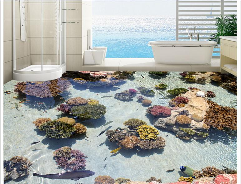 Custom photo floor wallpaper The coral sea tropical fish 3 d floor 3d mural PVC wallpaper self-adhesion floor wallpaer custom photo floor wallpaper 3d stereoscopic underwater world coral turtle 3d mural pvc self adhesive waterproof floor wallpaper