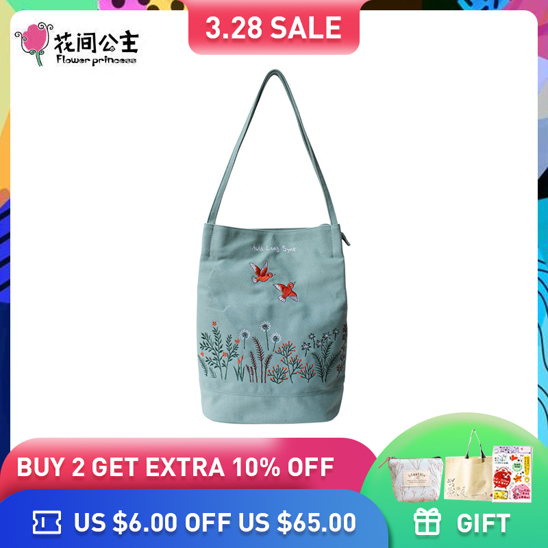 Fleur Princesse Femmes sac à bandoulière Mode sac en toile Femmes Grand fourre-tout pour Femmes qualité supérieure Broderie Dames Sac À Main