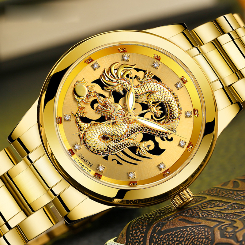 Luxury Embossed Dragon Watches Men Watch Fashion Golden Wrist Watch Diamond Quartz Watch Clock Relogio Masculino Erkek Kol Saati