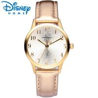 ディズニー女性腕時計高級レザーミッキーマウスカジュアル&ファッションブランド2017ドレスクォーツ腕時計女