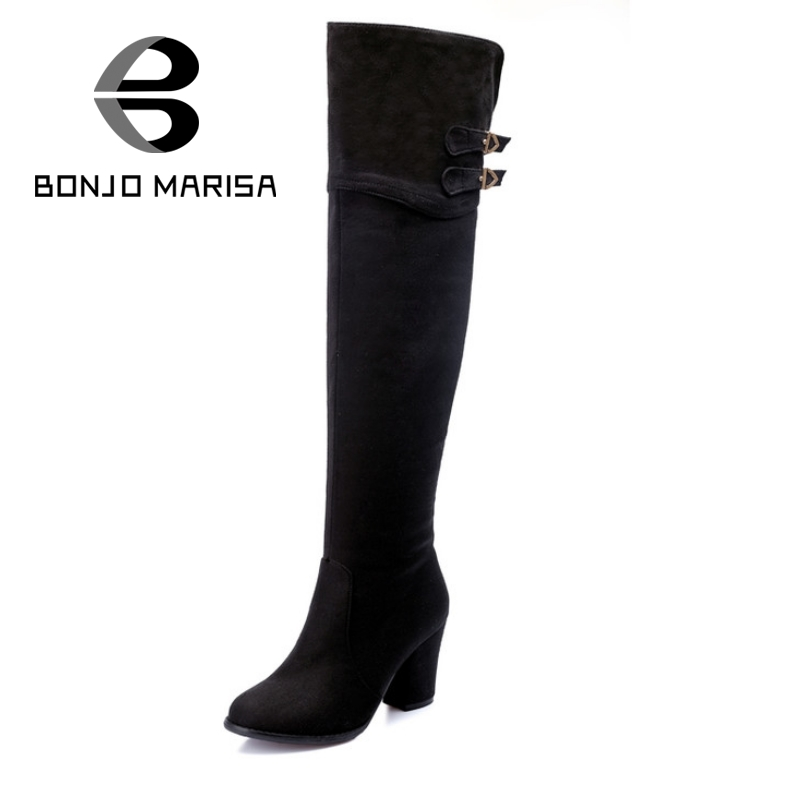 BONJOMARISA Big Size Sexy Over Knee Long Boots Women Add Fur Black Blue Winter Boots Thick High Heels Buckle Shoes With Fur big size 33 43 2016 new style thick heels high quality zip knee boots cozy buckle charm add fur fall winter boots women shoes