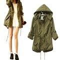 Новый женский зима теплая армии зеленую военную парка плащ с капюшоном куртки пальто