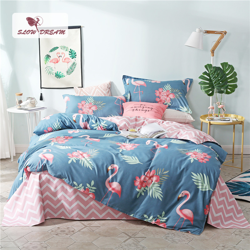 SlowDream Pink Flamingos Bedding Set Blue Euro Bedspread Luxury Duvet Cover Double Bed Sheets Linens Queen