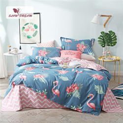 SlowDream Pink Flamingos Bedding Set Blue Euro Bedspread Luxury Duvet Cover Double Bed Sheets Linens Queen King Adult Bedclothes
