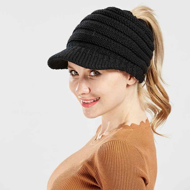 2018 hot sale Women s Knitted Baseball Cap Open Ponytail Visor Cap Ski Cap  Beanie Hat Winter bba7d6c6040