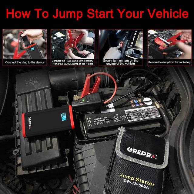 9000mAh Car Jump Starter 500A 12V External Car Battery Multi-function Vehicle Emergency Battery Booster Car Starter Power Bank