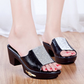 De piel de oveja de la mamá zapatos 2016 deslizadores frescos sandalias de cuero de diamantes para mujer zapatos de verano para lentejuelas Side decoración del Metal
