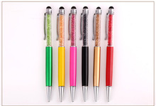 30pcs/lot hot sale crystal metal ballpoint pen .metal mobile touch