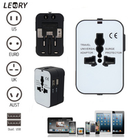 LEORY Universal All In One Electric Plug Power Socket Adapter Dual USB AC Power Charger International