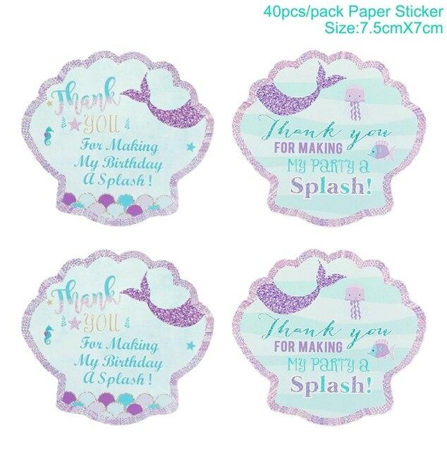 40PC mermaid sticker Mermaid party plates 5c64f5cb2fb11