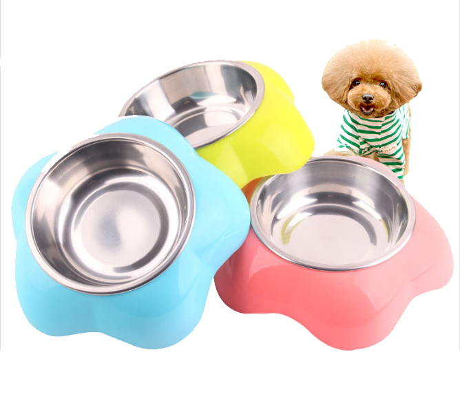 Flower Shape Indoor Pet Dog bowl Dry Food Cat Bowls for Dogs Bowls Drinking Water Fountain Pet Dog Dish Feeder Goods image