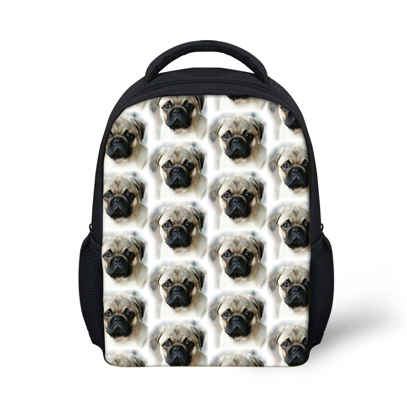 Kindergarten School Bags Kids Small Backpack Cute Pug Dog Print Book Bag Girls Boys Baby Bagpack Mochila