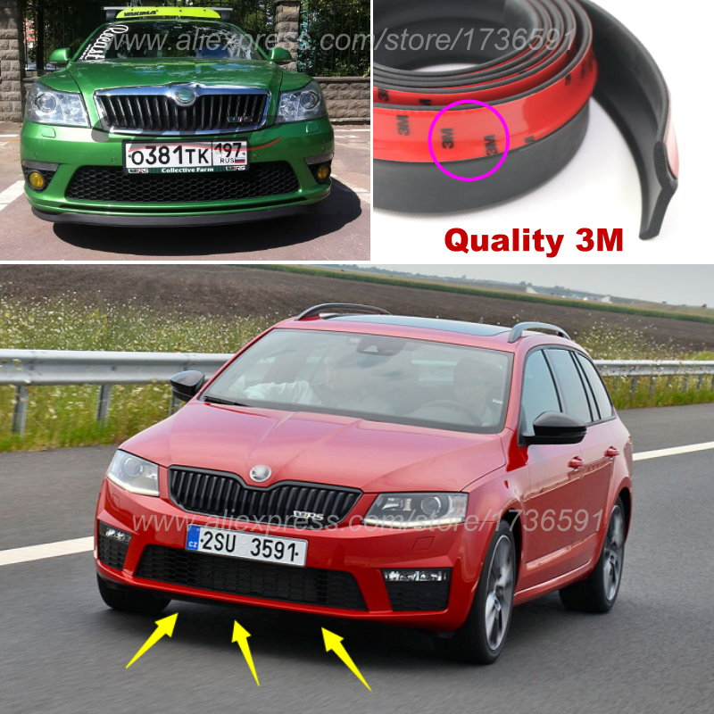 Bumper Lip Deflector Lips For Skoda Octavia A2 A5 A7 Laura Fabia Rapid Superb Yeti Roomster Front Spoiler Skirt Body Kit Strip diy 3d metal vrs rs front grill emblem sticker auto badge for skoda fabia octavia mk2 rapid spaceback superb yeti roomster