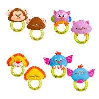 Baby Speelgoed 0-12 Maanden Dier Vorm Baby Rammelaar Hand Bells Leuke Varken Paard Olifant Aap Vroege Onderwijs Speelgoed voor Pasgeborenen 2