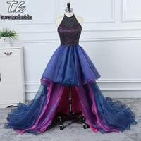 2018 Halter Neckline Colorful Layers Skirt High Low Beading Prom Dress Beading Formal Party Gowns New Fashion Evening Dress