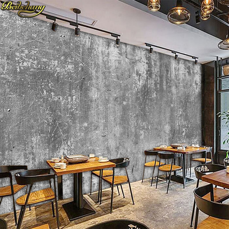 Beibehang Wallpaper Vintage Cement Wall Painting Cafe Tea Shop Casual Bar Decoration Background Wall Paper Papel De Parede
