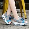 Varejo Verão das Sandálias das Mulheres Plataforma Esporte Sapatos Respirável Sapatos de Malha Sapatos Casuais Lace-Up Cunhas Balançar Sapatos Tamanho 36-40