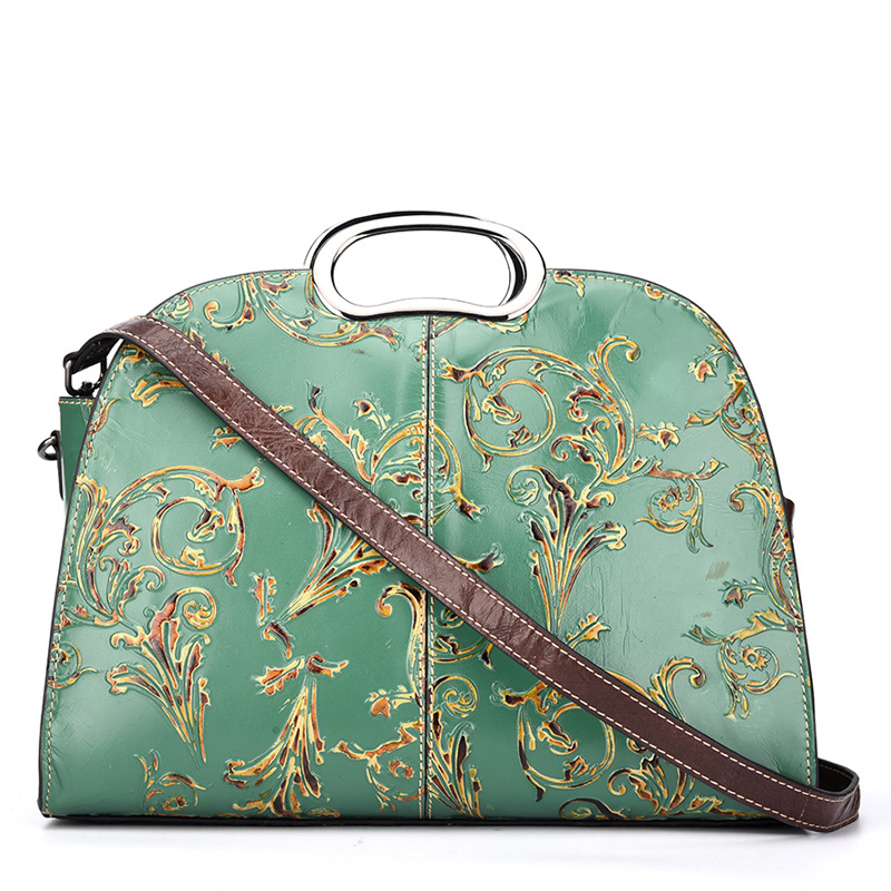 Women Embossed Shoulder Messenger Bag Handbag Brush Color Tote Purse High Quality Genuine Leather Crossbody Top