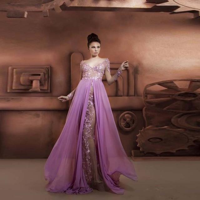 Vestido de festa Chiffon Licht Lila Lila Lange Formale Abendkleider ...