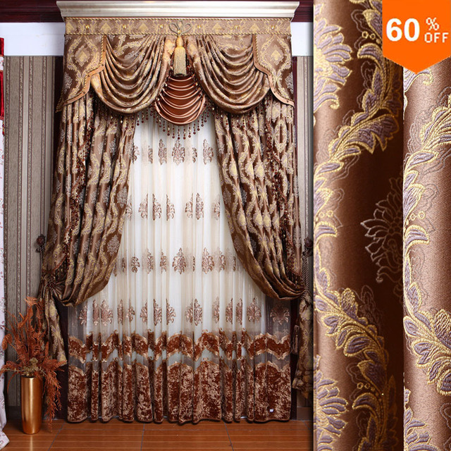 New baroque style Fashion curtain quality dodechedron curtains dodechedron finished products luxury jacquard cloth brown Curtain