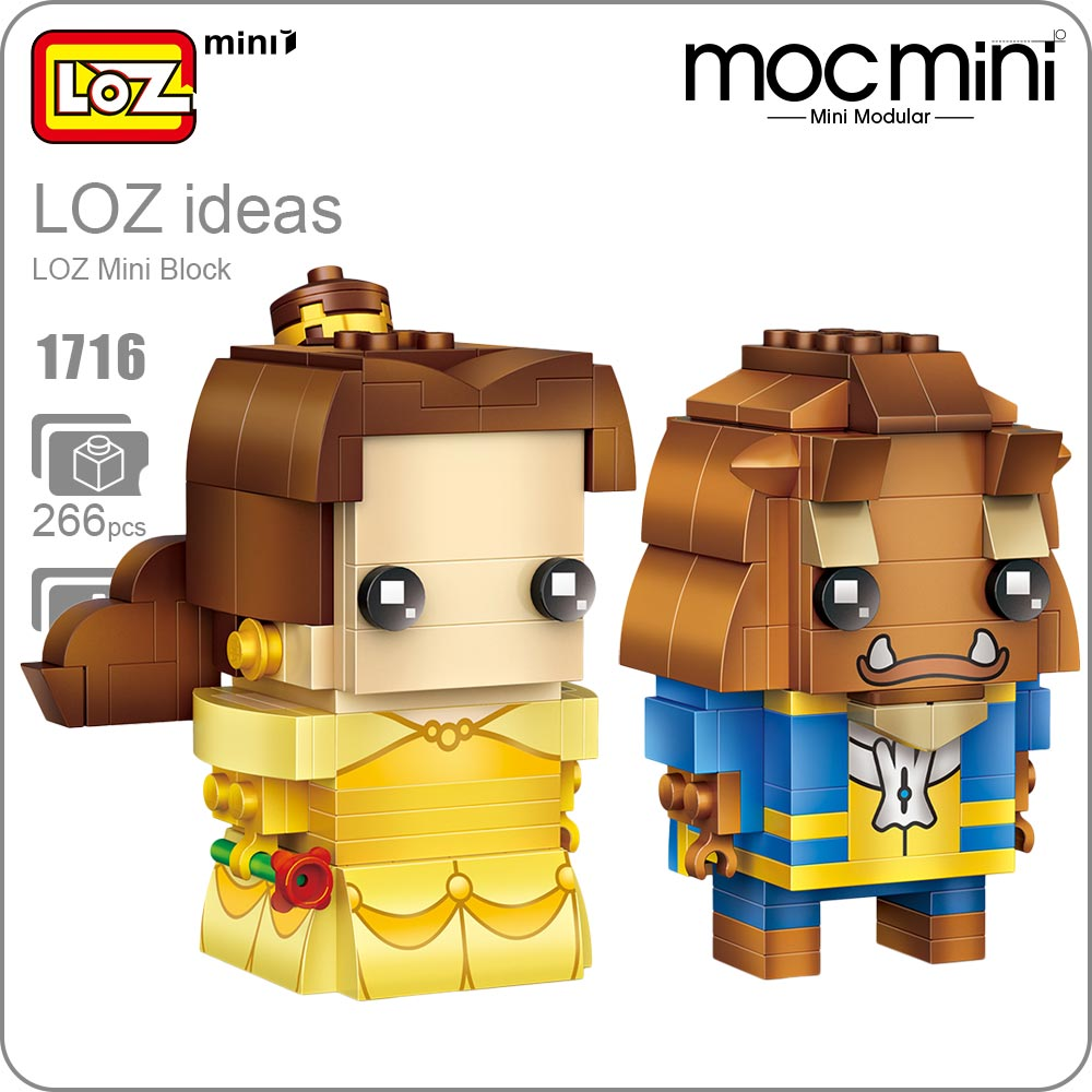 LOZ Mini Blocks Girl Beast POP Bobble Head Figure Cute Dolls Toys Hobbies Couples Gift DIY Fun Assembly Model Action Figure 1716 loz diamond blocks dans blocks iblock fun building bricks movie alien figure action toys for children assembly model 9461 9462
