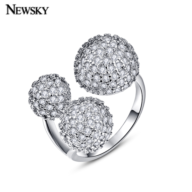 NEWSKY Brand New Design Rings Silver-Plated Fashion Design Twin Zircon CZ Engagement Wedding Band Ring For Woman  Gift #R920-1
