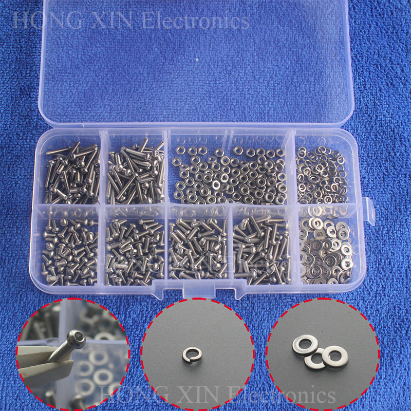 600pcs/set M2 304 Stainless Steel Hex Socket Screws Bolt With Hex Nuts Washers Assortment Button Head Round Head Mushroom Hex