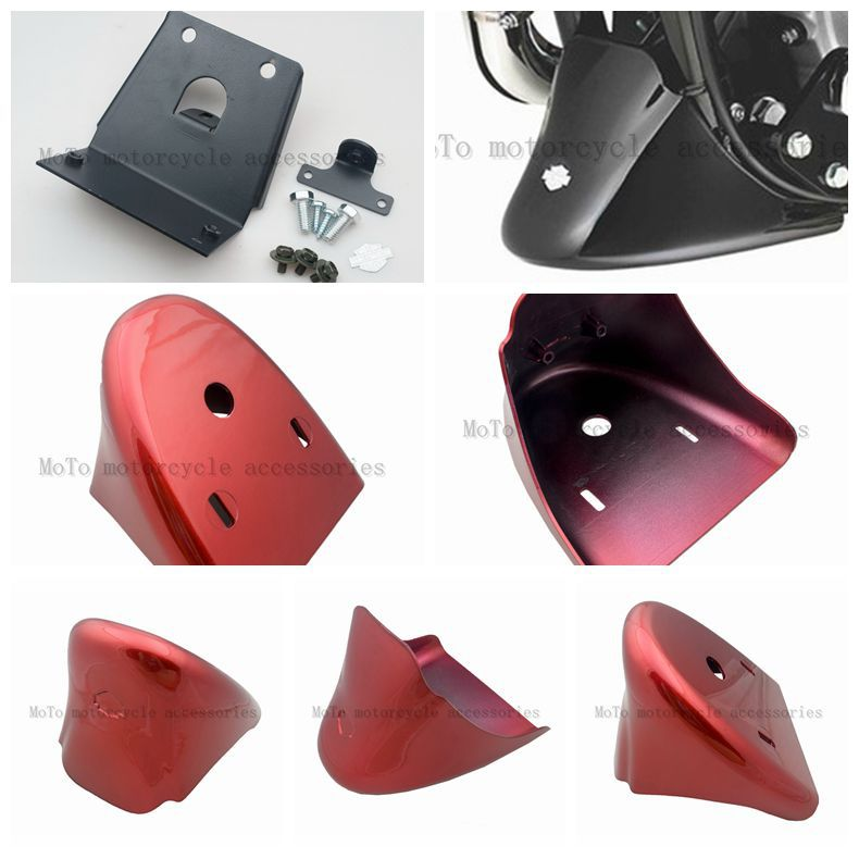 Bright Red Front Bottom Spoiler Mudguard Fender Cover Fits For Harley Sportster 1200 XL Iron 883 2004-2015 for 2004 2016 harley sportster 1200 xl iron 883 motorcycle front chin spoiler mudguard air dam fairing black 05 06 07 08 14 15