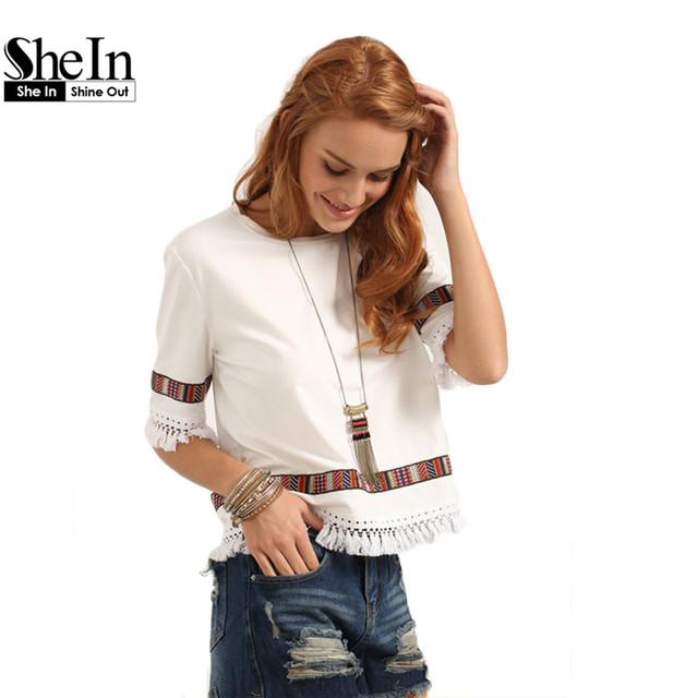 Shein bege franja do vintage bordado blusas de verão partes superiores das mulheres casuais em torno do pescoço meia manga patchwork blusa
