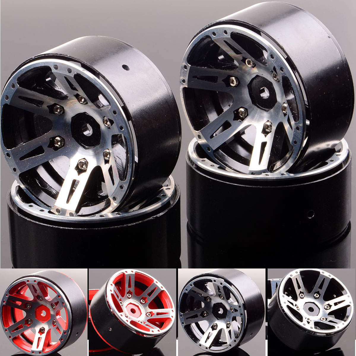 4xAluminum Rock Crawler 1.9 Beadlock Wheel Rim 1059 For RC 1:10 Axial SCX10 D90 4 pcs lot black alloy 1 10 rc crawler 1 9 beadlock wheels for scx10 d90 90034 90035 aluminum rim free shipping