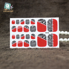 Y5510/2016 Fashion Toe Nails Manicure Sticker Red&Zebra Adhesive Feet Nail Wraps Decals Full Cover Diamond Nail Sticker