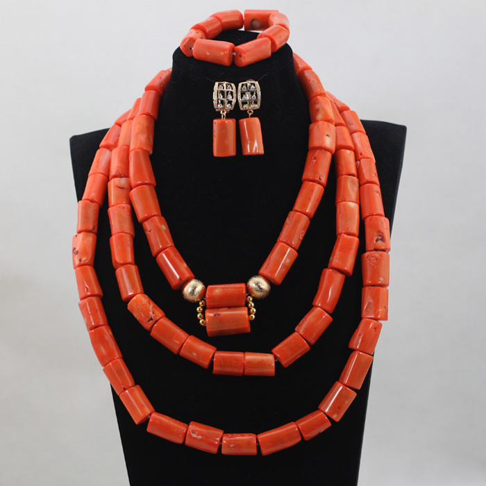 The Design Of The Top Nigerian African Wedding Bridal/Women 3 Layer Orange Coral Beads Necklace Jewelry Set Free Shipping CJ798 the wedding dress 300 years of bridal fashions