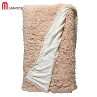 Super Soft Long Shaggy Bedspreads Fuzzy Fur Solid Color Elegant Cozy With Fluffy Sherpa Throw Sofa
