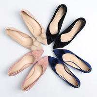 2019 spring new women's shoes wool ball single shoes female pointed thick with heel suede.