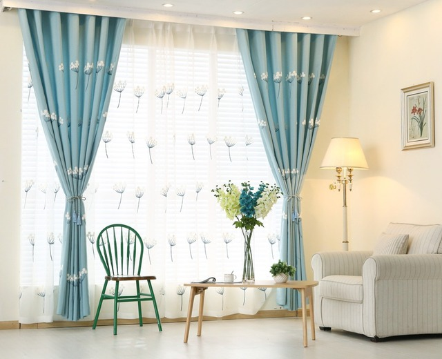 Sky Blue Embroidered Curtains Window Curtain For Bedroom Living Room Solid Color